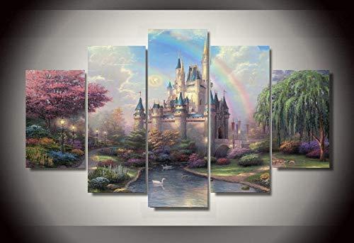 ZhenFa Fünf-Link Burg hängenden Bild Frameless 5 Kombination hängen Gemälde (Can, doppelseitigen Klebstoff, wie z. B. Feste oder pic Ture Frame straffe Federung)