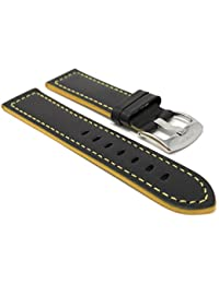 Leather Watch Strap Band, Racer, 24mm, Black with Yellow Stitching
