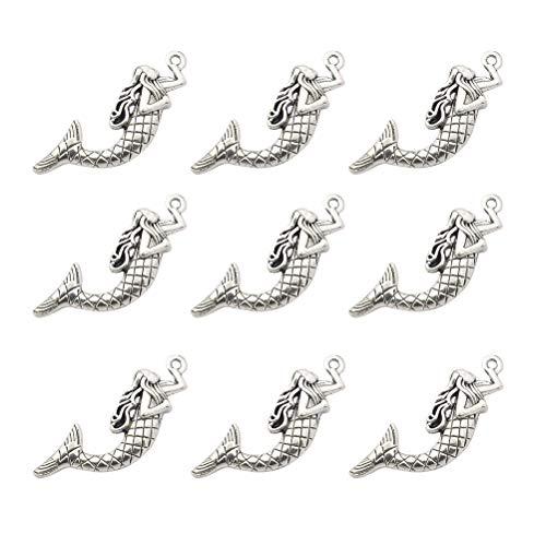 Healifty 20 stücke Meerjungfrau Anhänger Charms Alloy Charms für Schmuck Machen Halskette Armband (Silber)