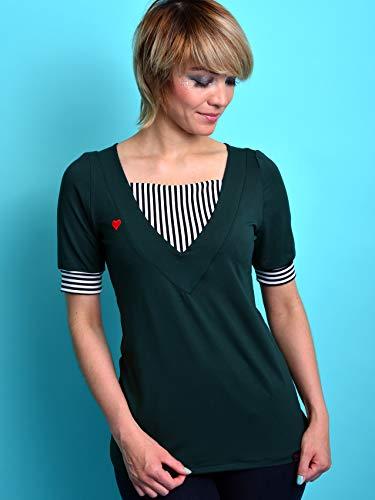Jerseyshirt Damen dunkelgrün Streifen