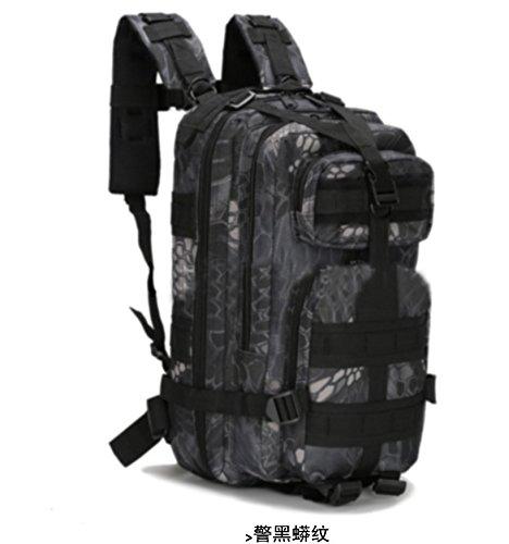 Multifunctional borse tracolla tempo libero zaino camouflage escursionismo zaino campeggio 43*26*23cm,CP color La polizia nero modello python