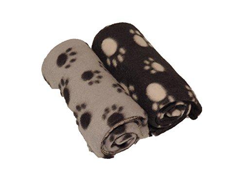 2 Kuschelige Hundedecken 80x120cm, Katzendecken / Decken für Hunde oder Katzen aus Fleece - 1x schwarz, 1x anthrazit