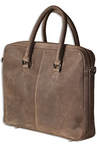 Woodland® Laptoptasche/Aktentasche aus naturbelassenem, weichem Büffelleder in Dunkelbraun/Taupe (Tasche International Aktentasche)