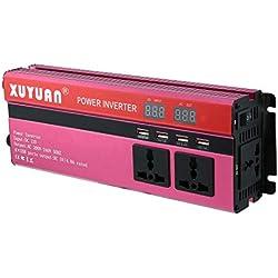 Gwendoll Convertisseur CC 12V à onduleur de Puissance Solaire Professionnel 6000W Convertisseur d'onde sinusoïdale de Voiture d'affichage à LED 220V pour Les appareils ménagers