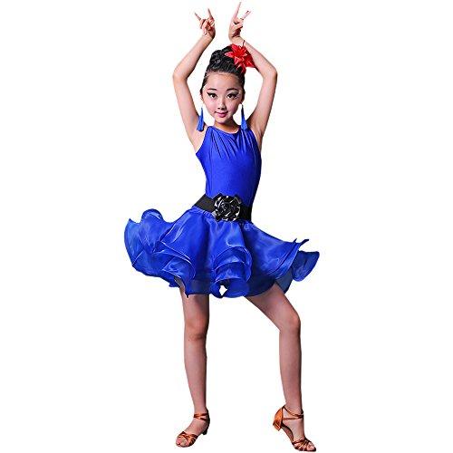 BOZEVON Kinder Mädchen Moderne Tanzkleidung Ärmelloses Latein Tanzkleid Leistung Performance Wettbewerb Kostüm, Dunkelblau/150
