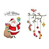 iTemer Navidad Tema Ventana de Cristal Pegatinas Centro Comercial Escena diseño Decoraciones Removibles Pegatinas de Pared decoración de Navidad Pegatinas Style E