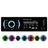 Favoto Car Stereo Bluetooth Car Radio MP3 Player FM (87.5-108MHz) 7-Colour Backlight Screen With AUX3.5mm USB/SD Card Ports Compatible with Card Case