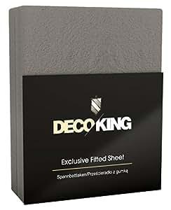 DecoKing 38567 Spannbettlaken 140 Frottee Spannbetttuch, Baumwolle, dunkelgrau