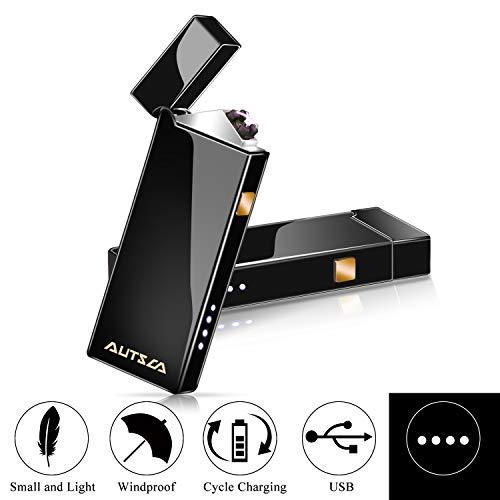 AUTSCA Briquet Rechargeable USB, Briquet Électronique Double Arcs pour Cigarette, Bougies, Feux d'artifice, Briquet Coupe-Vent, Magnifique Boîte Cadeau