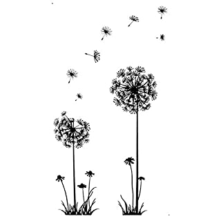 Wall Stickers , Amamary Black Creative PVC Dandelion Flower Plant Tree Large Removable Home Wall Decal Sticker