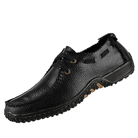 Spades et clubs en cuir pour homme Mode Casual Moka Pouf Semelle Plat Chaussures de marche, Noir - noir, 7.5 UK