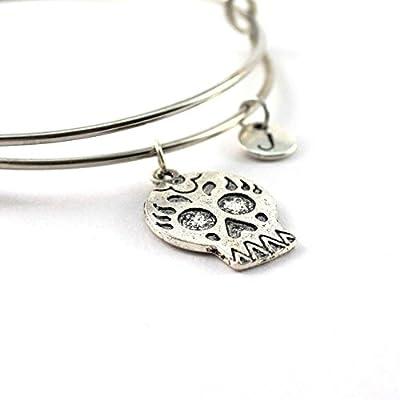 Bracelet jonc SUGAR SKULL personnalisé | Bracelet Tête de Mort | Bijou à initiale | Bijou pierre de naissance | Cadeau personnalisé