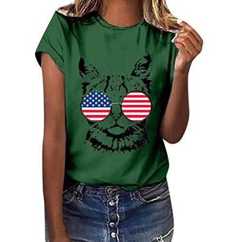 Aiserkly Frauen Mädchen Plus Size amerikanische Flagge Cat Print Tees Shirt Kurzarm Bluse Top Grün 2XL
