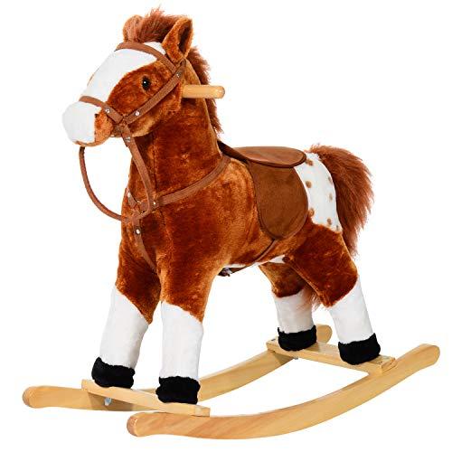 Cheval à Bascule Cheval de Cowboy Effet sonore Selle rênes Marron Blanc