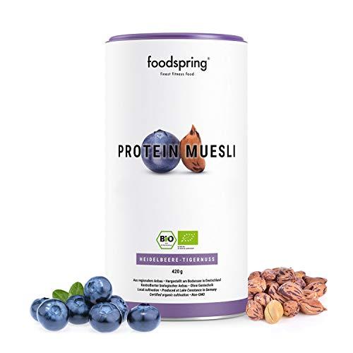 foodspring Bio Protein Müsli, Heidelbeere-Tigernuss, 420g, 3,5x mehr Protein als normales Müsli, Hergestellt in Deutschland mit Bio-Qualität vom Bodensee -