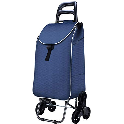 BHXUD Trolley Dolly Stair Climber Blue Faltbarer Warenkorb Pull Cart mit 6 Rädern Rollen