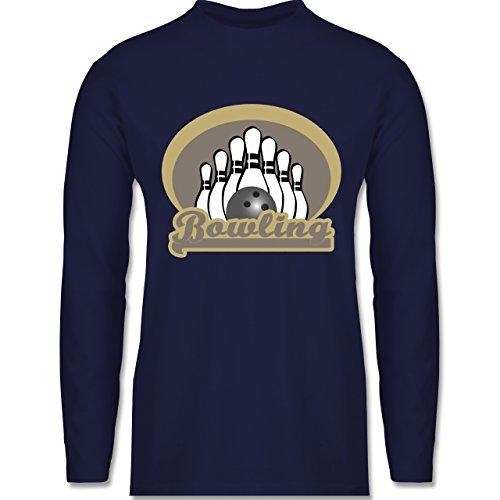 Shirtracer Bowling & Kegeln - Bowling Old School - Herren Langarmshirt Navy Blau