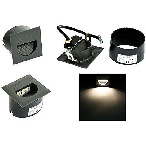 LED da parete scale gradini vie durata luce notturna faretto da incasso faretto Lina alluminio 230 V 1,2 Watt IP65 EEK: a + Colore della luce: bianco caldo montaggio scatola resistente alle intemperie cavo: 15 cm cavo