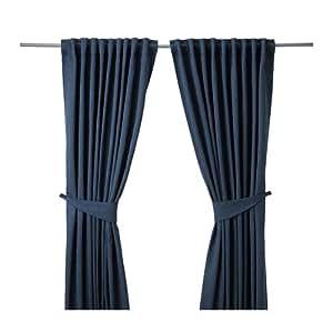 IKEA BLEKVIVA-Rideaux avec embrases - 1 Paire-Bleu - 145 x 300 cm