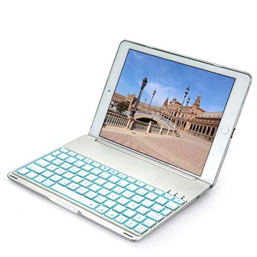 iEGrow Funda de Teclado iPad Air 2 (Modelo A1566 / A1567 Teclado iPad Air 2 con Bluetooth con 7 Colores LED Retroiluminada, Rotación Multi-ángulo Clamshell Delgada(Silver)