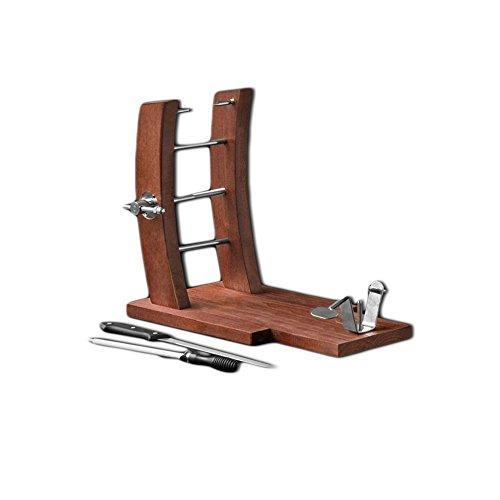 Soporte Jamonero diseño moderno,incluye afilador,marrón, medidas aproximadas 38,5 x 32 x 22,5 cm.