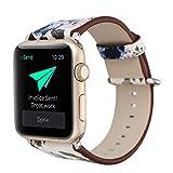 KKSY Bracelet de Montre Matière de Cuir Petite Texture Florale pour Apple Watch 1...