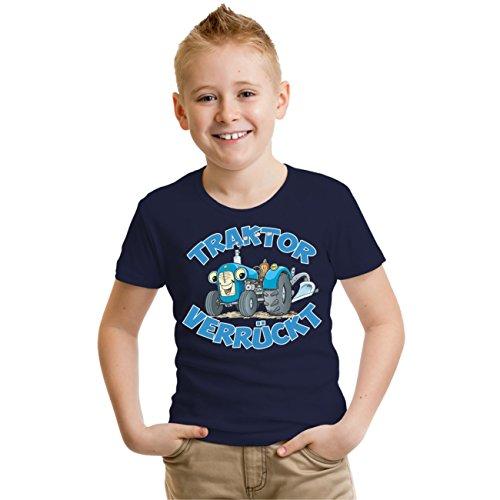 Kinder T-Shirt TRAKTOR verrückt Größe 98 - 164 Dunkelblau