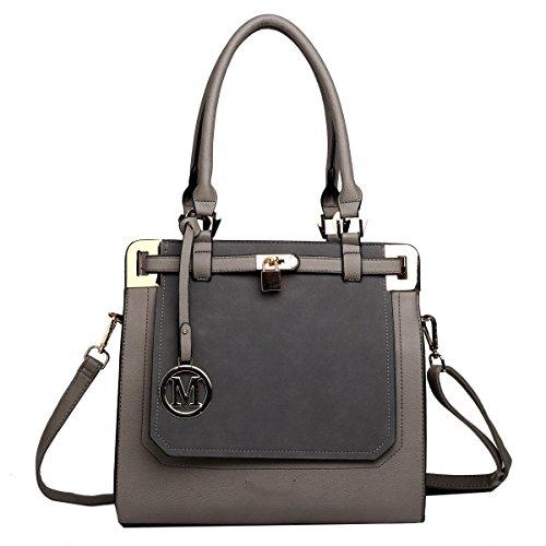 Yy.f Neue Lässige Handtaschen Einfaches Abendessen PU matte Leder Schulter Diagonal Handtaschen Multicolor Grey