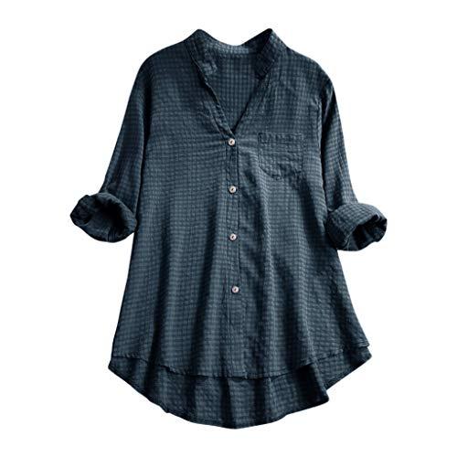 Andouy Damen Hemd Top Kariertes Langarm Leinen Plus Size Gr.38-46 Tunika Knopf Lose Bluse Übergroß(2XL(46),Marine)