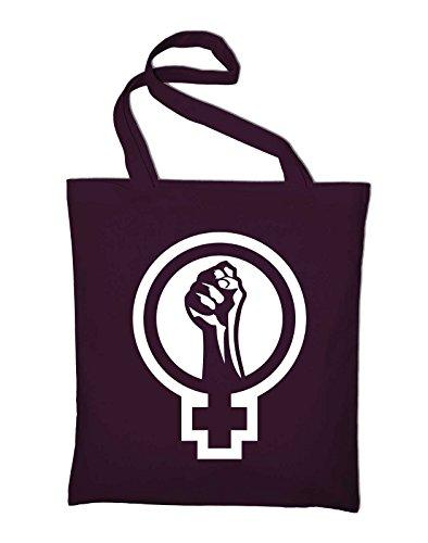 #2 Feminismus Logo Jutebeutel, Beutel, Stoffbeutel, Baumwolltasche, maroon (Damen Maroon Handtasche)