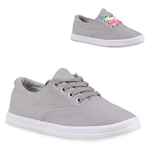 Damen Basic Sneakers Sportschuhe Stoffschuhe Freizeit Schuhe Grau