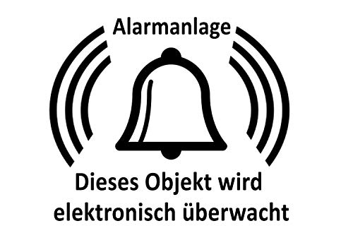 Alarmanlage Aufkleber Glocke Alarmglocke Hinweisschild Alarm Büro Türaufkleber Fensteraufkleber Farbe Schwarz Transparent, Größe 1 Stk