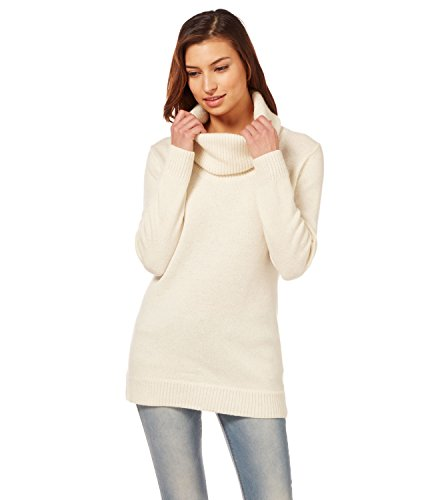 Womens Lambswool Chunky Cowl Neck Jumper Cream, XL (Pullover Wolle Neck Cowl)