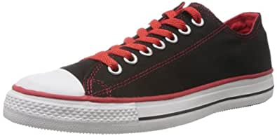 Converse Men's Black and Red Canvas Sneakers - 3 UK (502821)