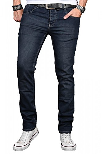 A. Salvarini Herren Designer Jeans Hose Stretch Basic Jeanshose Regular Slim [AS047 - W34 L32]