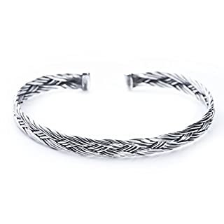 Windalf Bangle ~ Asgard Diameter 6.4 cm – Viking – Hand Forged in 925 Sterling Silver (ARM31)