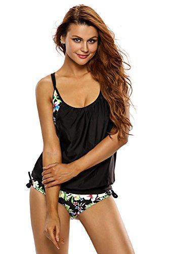 Aleumdr Damen Tankini bauchweg mit Slip Soft Cups Tankini Bikini Bottoms Badeanzüge Zwei Stük Strandkleidung, Schwarz und Blumen, X-Large(EU48-EU50) Blumen-cup 2