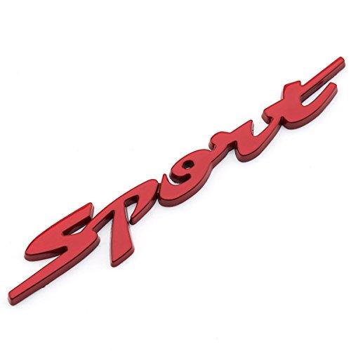 Dsycar 1 Stücke 3D Metall Sport Auto Seitenfender Kofferraum Emblem Abzeichen Aufkleber für Universal Autos Motorrad Auto Styling Dekorative Zubehör (rot)