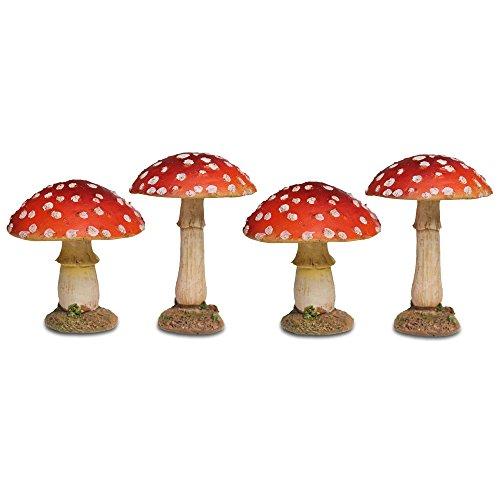 Garten Deko 4 Rote Fliegen Pilze mit Rundem Kopf aus Polyresin 8-9cm Hoch