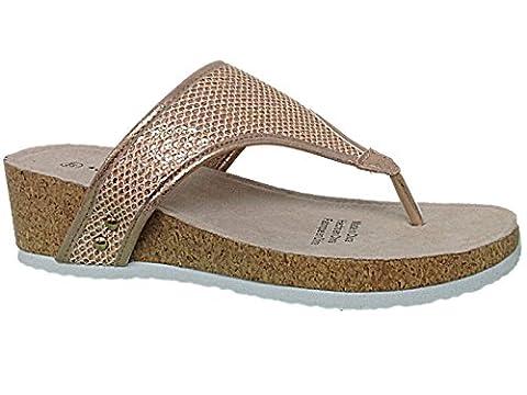 Ladies Sprox 190463 Sequin Toe Post Cork Effect Low Wedge Slip On Flip Flop Summer Sandals Size 4-9 (UK 9,