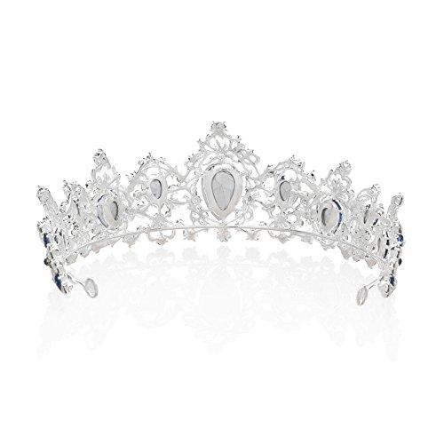 SWEETV Vendimia Realerde Corona Nupcial Tocado CZ Cristal Tiara Diadema Accesorios para Mujeres, Azul+Plata