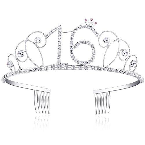 BABEYOND Kristall Geburtstag Tiara Birthday Crown Prinzessin Kronen Haar-Zusätze Silber Diamante Glücklicher 16/18/20/21/30/40/50/60/70/80/90 Geburtstag (16 Jahre alt)