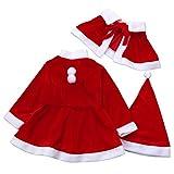Baby Girls Christmas Dress, SOMESUN Abiti da bambino bambini delle neonate vestiti di Natale del partito del costume + scialle + Hat Outfit (Red, 120)