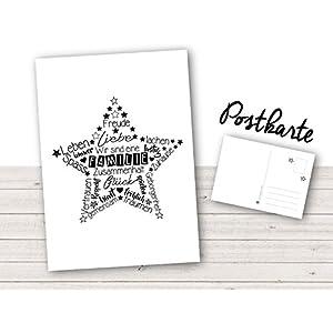 Postkarte ★ Stern Familie ★ (Pk3) A6 – kunterbunte & fröhliche Postkarten vom Papierbuedchen