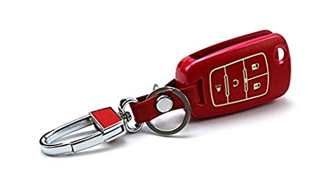 Happyit Genuine Leather + PC Shell Car Key Cover Case