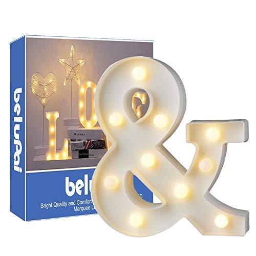 Letras Led Letras Luminosas Decorativas Letras Alphabet Light Luces De Espejo Del Alfabeto A-Z con Luces de LED para Decoración de DIY Wedding Party Dormitorio Decoración de Navidad- Letra &