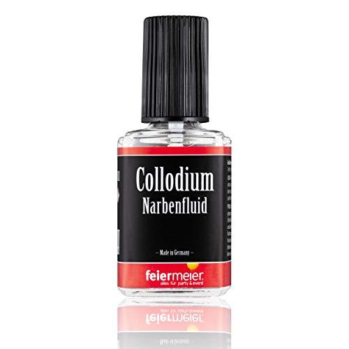 PartyMarty Narbenfluid für realistische Narben - feiermeier® Collodium / Collodion 11ml Pinselflasche - Halloween Horror Schminke Makeup (Collodium Make Up)
