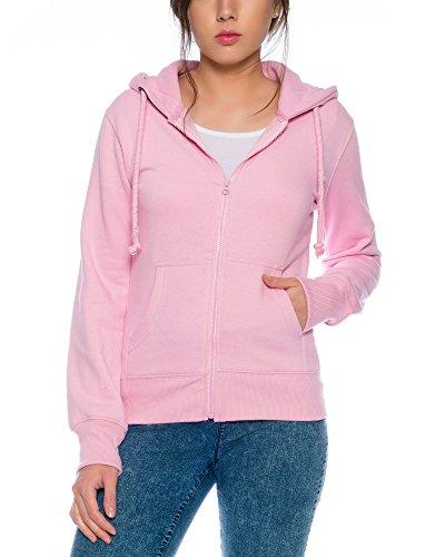 Crazy Age Cooler Zip Hoodie Kapuzenjacke Sweatjacke aus hochwertigen Baumwollmischung (Rosa, L=38) Rosa Zip
