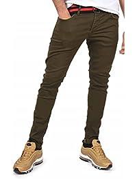 Project X Paris Pantalon Slim avec Ceinture Bicolore Homme 32, Kaki 4e6ee481f54