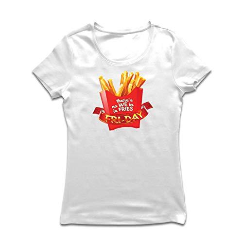 lepni.me Frauen T-Shirt Es gibt Keine wir in Pommes Freitag Outfit Junk Food Liebhaber (Small Weiß Mehrfarben)